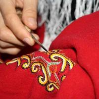 Persian ethnic and traditional art of crocheting on fabric