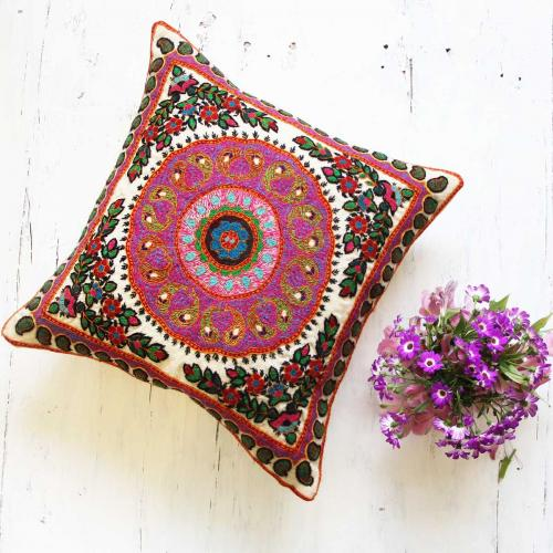 Boho hand embroidered Pillow