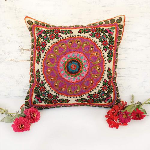 Boho hand embroidered Pillow cushion patteh