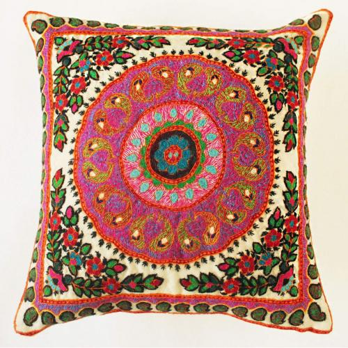 Boho hand embroidered Pillow patteh cushion