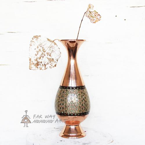 Handmade Wood Marquetry Copper Vase