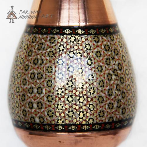 Handmade wood marquetry copper vase handmade wood marquetry copper vase farwayart3