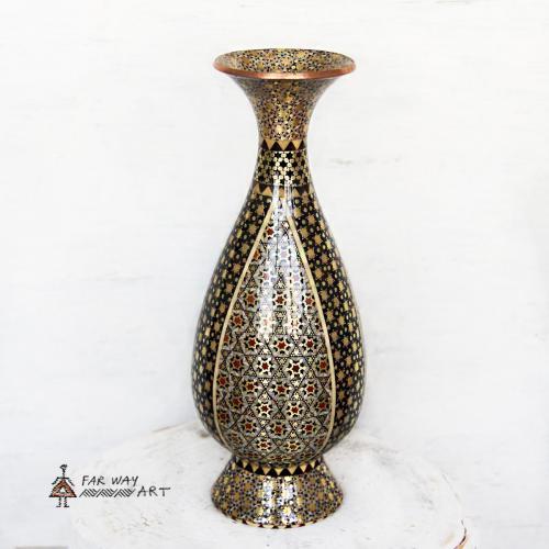 Handmade Wood Marquetry Vase handmade wood marquetry vase2