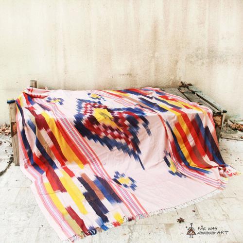 Handwoven Ikat Blanket, Throw ikat bedcover farwayart