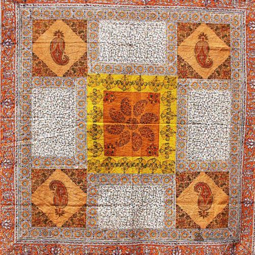 Orange Hand Block Print Tapestry