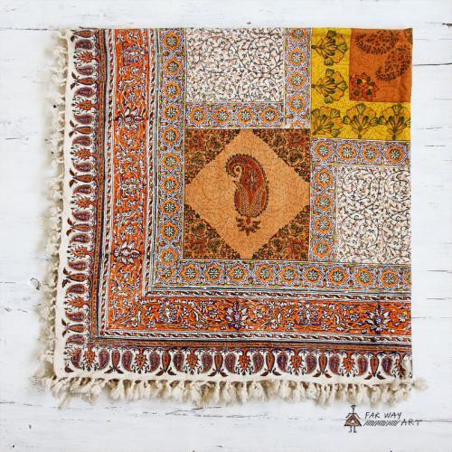 Orange Hand Block Print Tapestry mandala wall hanging4 farwayart