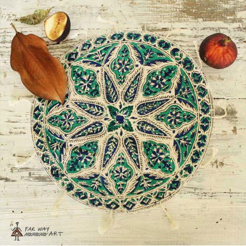 Woodblock print mandalas persian handprinted ghalamkar farwayart