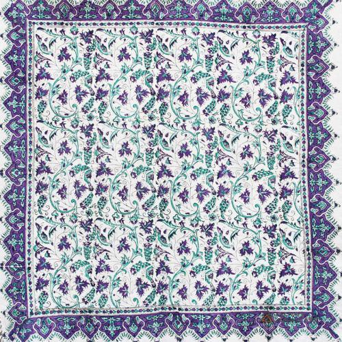 Purple Hand Block Print Tablecloth purple handblockprint 2 farwayart