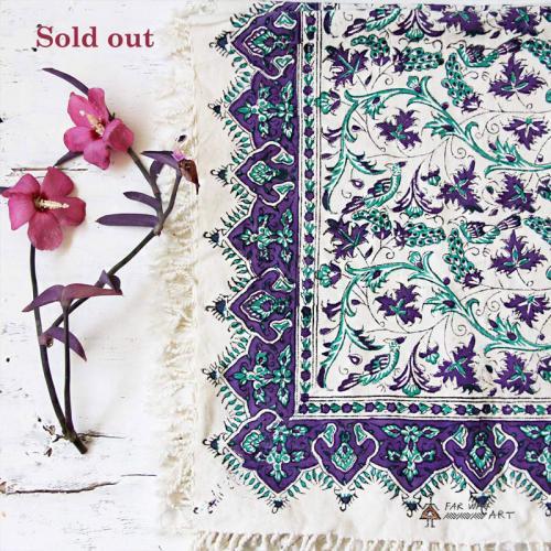 Purple Hand Block Print Tablecloth