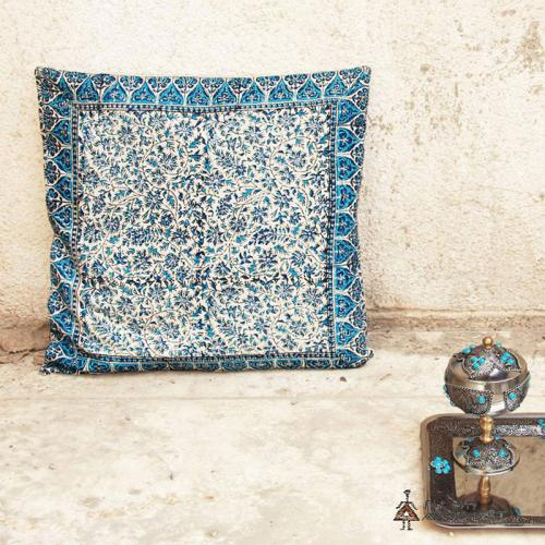 Blue hand block printed pillow cover