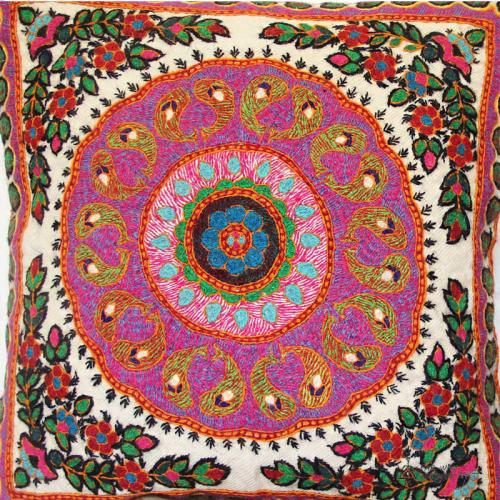 Pink Boho Hand Embroidered Mandala Pillow bohemian cushion3 farwayart