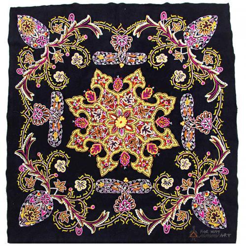 Luxury Hand Embroidered Wall Hanging chrocheting on fabric3 farwayart