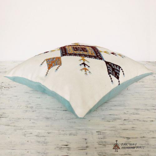 Minimal Tribal Hand Embroidered Pillow handmade pillow2 farwayart