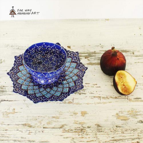 """Hand-Painted Plate & Bowl (Persian """"Meenakari"""")"""