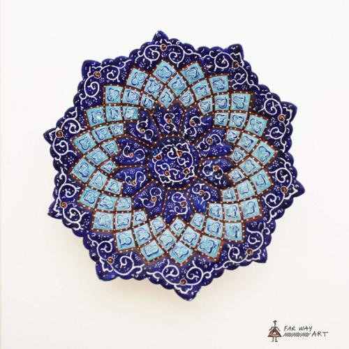 """Hand-Painted Plate & Bowl (Persian """"Meenakari"""") handpainted bowl plate4 farwayart"""