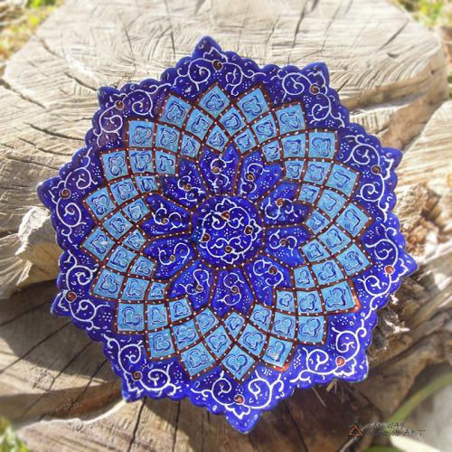 Hand Painted enameled mandala plate handpainted enamel plate farwayart