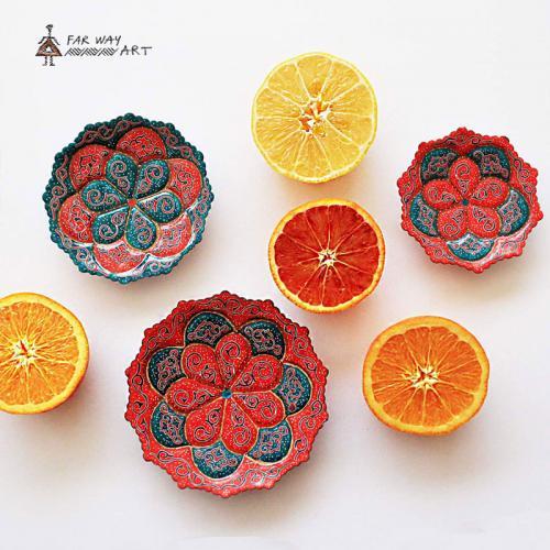 Hand-painted & Enameled Mandala Plates (Meenakari)