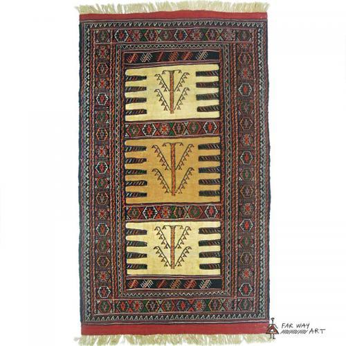 Persian nomadic rug (Kurdish Sofreh) handwoven indigenous rug farwayart