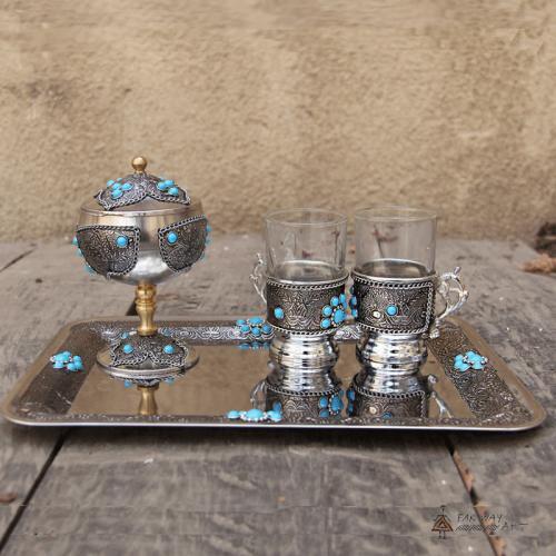 Persian Handmade Inlaid Tea Set inlay kitchen decor farwayart