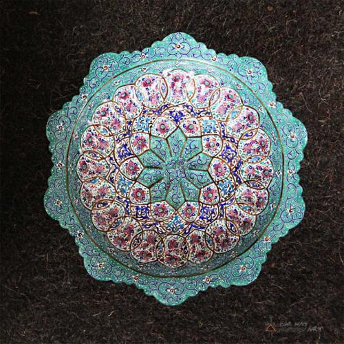 Hand Painted Pedestal Candy / Nut Bowl Dish (Meenakari) mandala plate2 farwayart