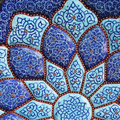 Persian Hand-painted Mandala Plate mandala plate3 farwayart