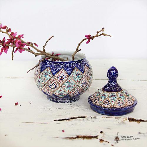 Hand Painted Sugar Bowl (Meenakari Enamel) minakari sugar bowl2 farwayart