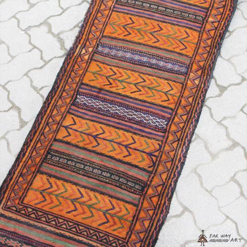 Semi-antique Persian Orange nomadic Kilim
