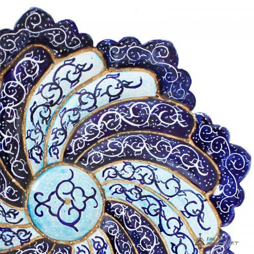 Hand Painted & Enameled Mandala Plate (Meenakari) persian minakari2 farwayart
