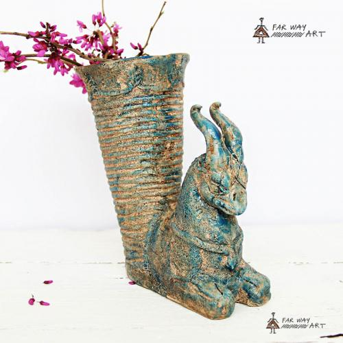 Pottery Vase In The Shape Of An Ancient Persian Rhyton