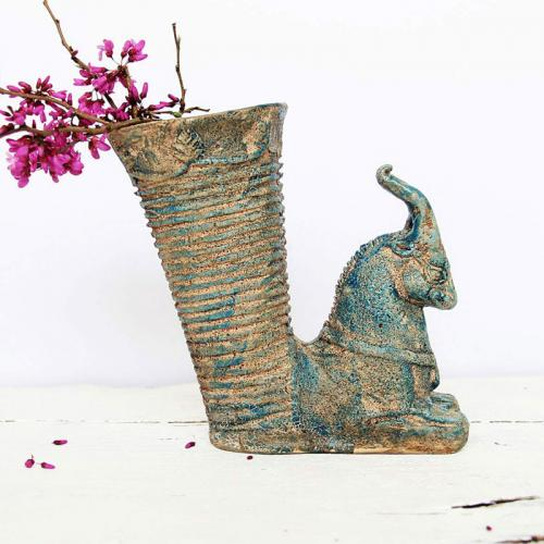 Pottery Vase In The Shape Of An Ancient Persian Rhyton persian pottery2 farwayart