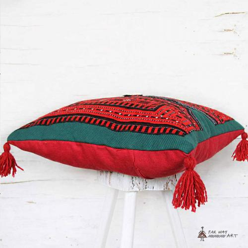Red Boho Hand Embroidered Pillow tribal embroidery pillow3 farwayart