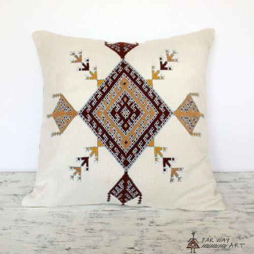Minimal Tribal Hand Embroidered Pillow