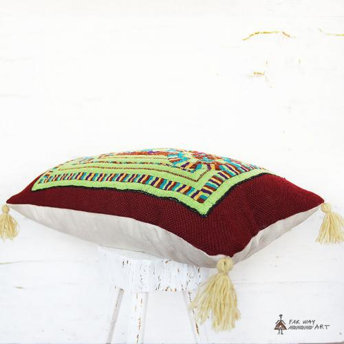 Green Tribal Hand Embroidery Pillow tribal hand embroidered pillow2 farwayart