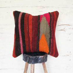 Handmade vibrant rug pillow Cover