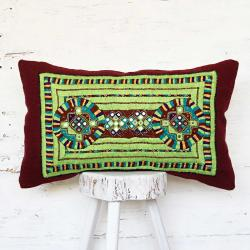 Green tribal hand embroidery pillow