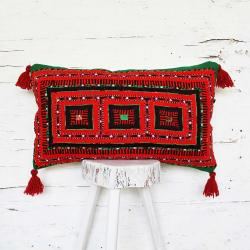 Tribal hand embroidered pillow
