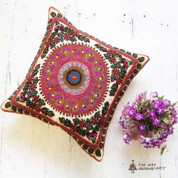 Pink Boho Hand Embroidered Mandala Pillow