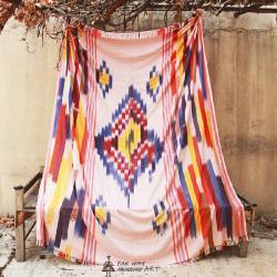 Handwoven Ikat Blanket, Throw