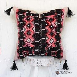 Pink Mirror Embroidered Pillow