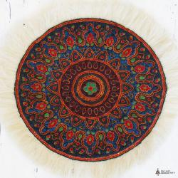 Embossed Hand Embroidered Mandala Tablecloth