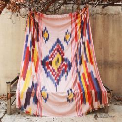 Handwoven Ikat Blanket, Throw