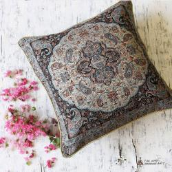 Gray Hand-woven Termeh Pillow Cover
