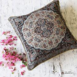 Gray Hand-woven Termeh Pillow Cover