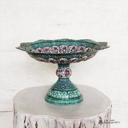 Hand Painted Pedestal Candy / Nut Bowl Dish (Meenakari)