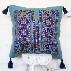 Blue Mirror Embroidered Throw Pillow