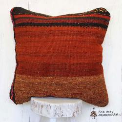 Orange/Brown Rug Pillow Cover
