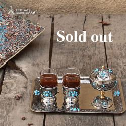 Persian Handmade Inlaid Tea Set