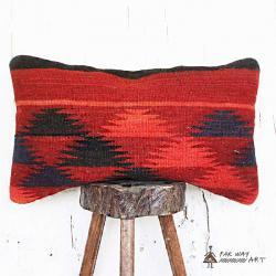 Red & Orange Lumbar Kilim Pillow Cover